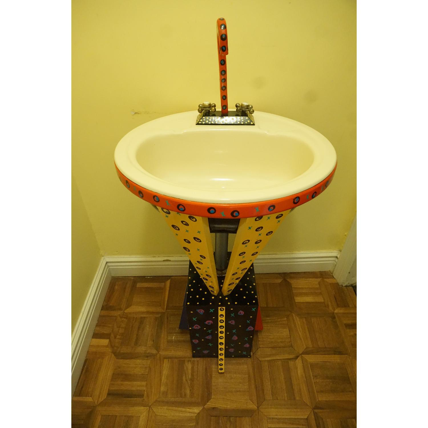 Found Art - Handmade Artist Signed Colorful Painted Sink - image-6