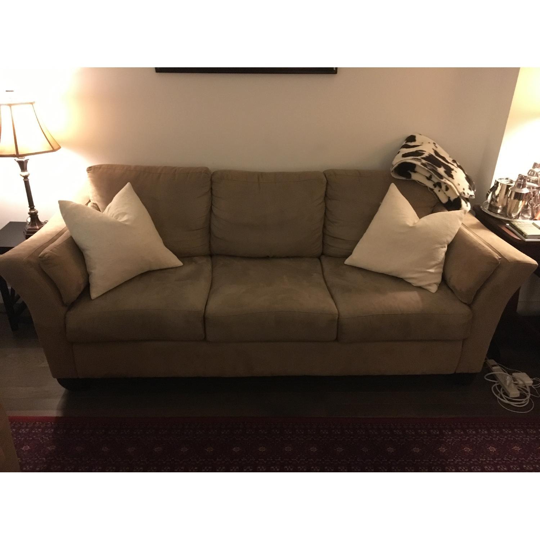 Jennifer Convertibles Beige Microfiber Sofa - image-1
