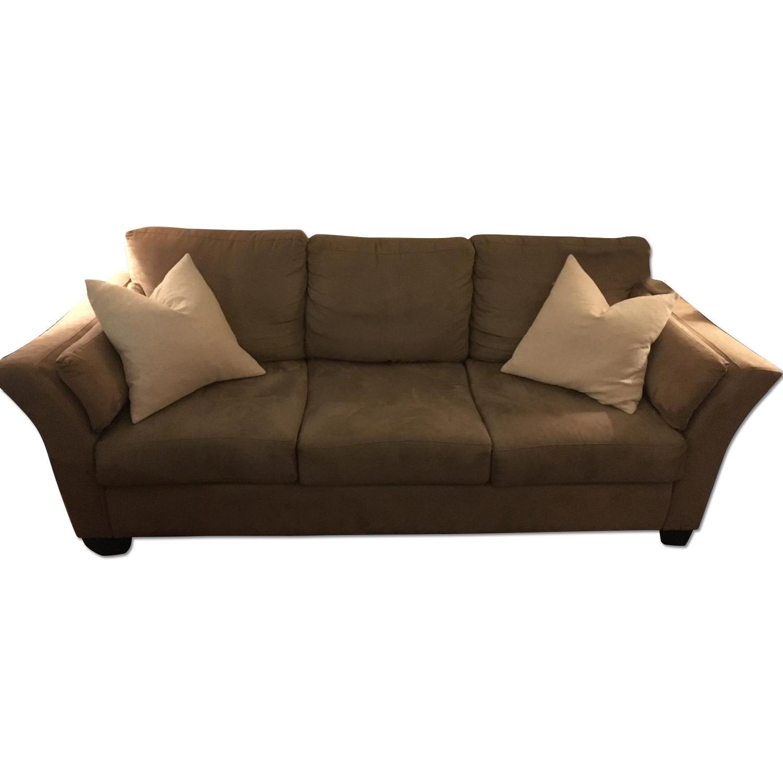 Jennifer Convertibles Beige Microfiber Sofa - image-0
