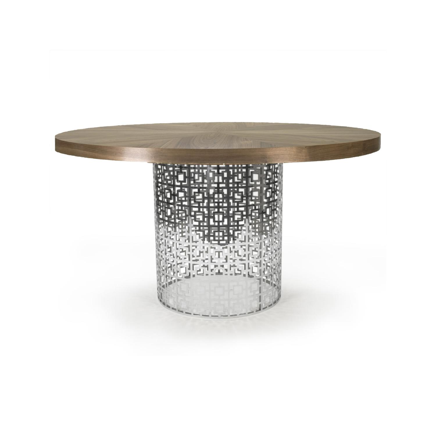 Jonathan Adler Library Table in Nickel w/ Walnut Table Top - image-0