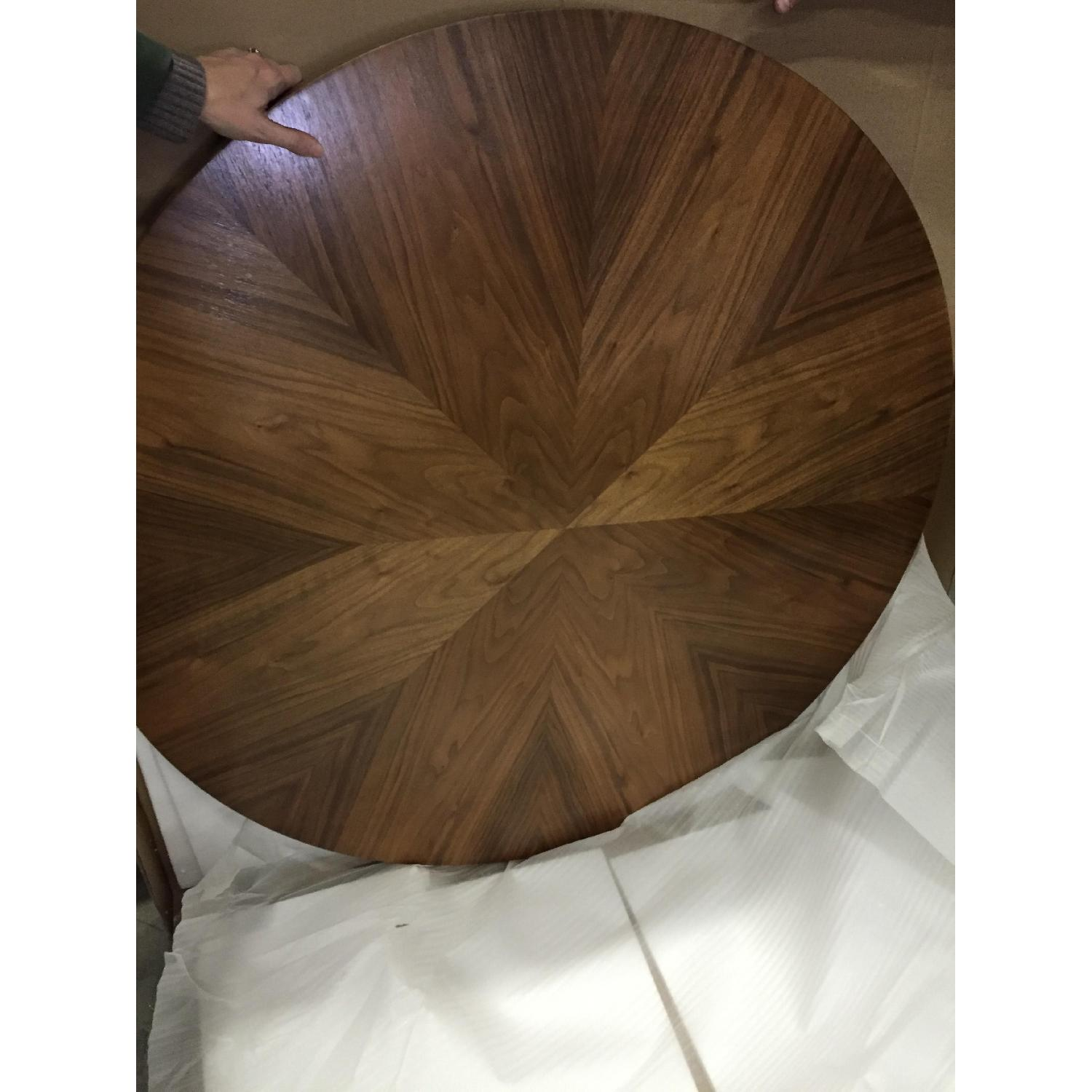 Jonathan Adler Library Table in Nickel w/ Walnut Table Top - image-1