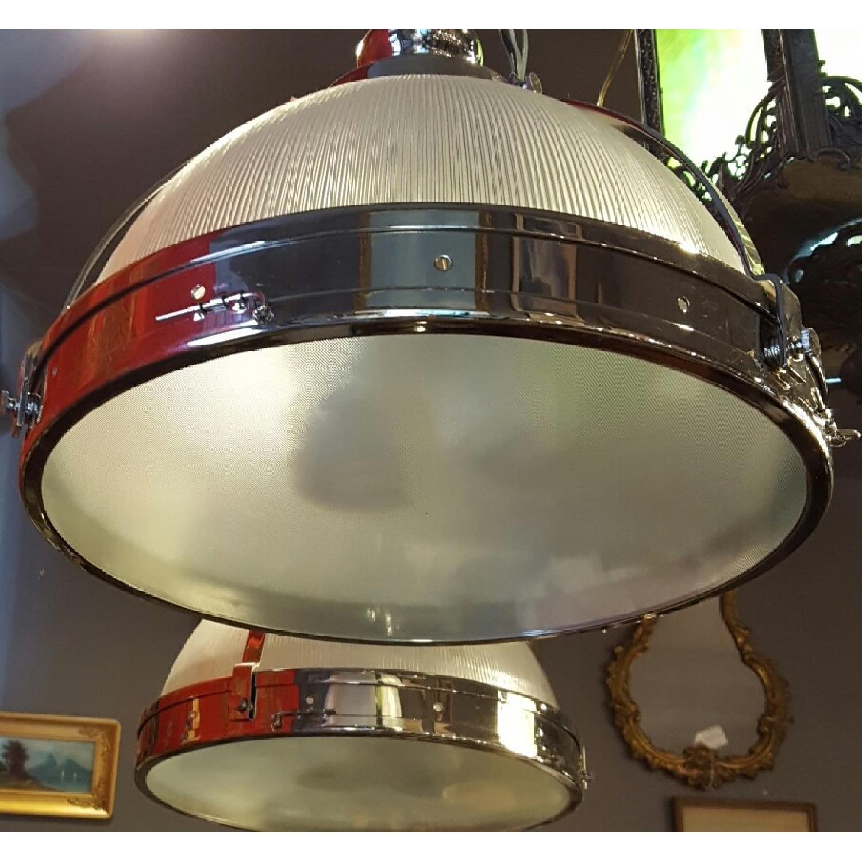 Chrome & Glass Double Pendant Light Fixture - image-1