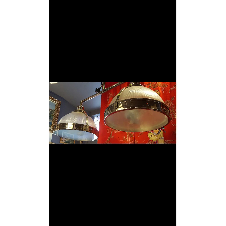Chrome & Glass Double Pendant Light Fixture - image-3