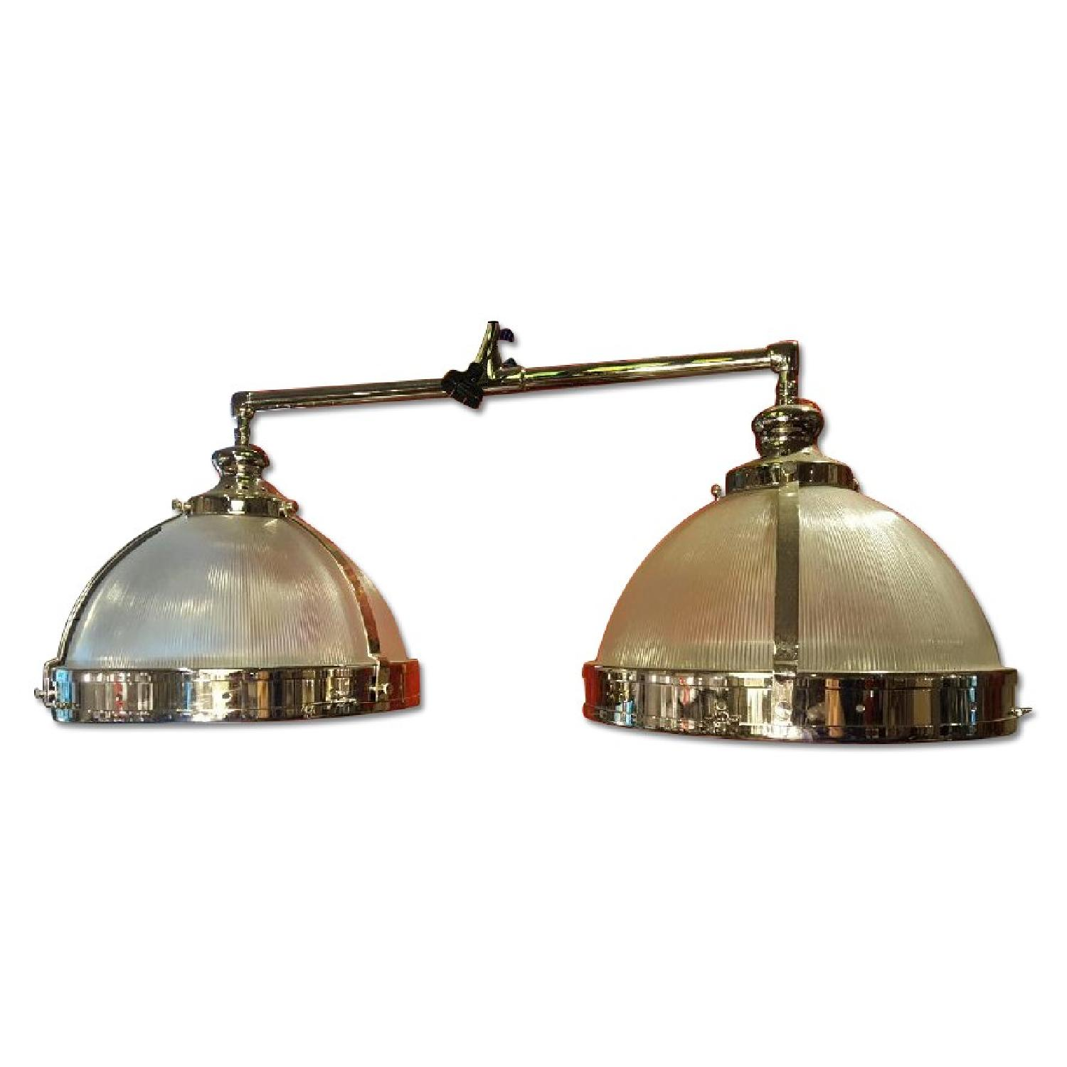 Chrome Amp Glass Double Pendant Light Fixture