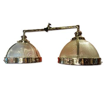 Chrome & Glass Double Pendant Light Fixture