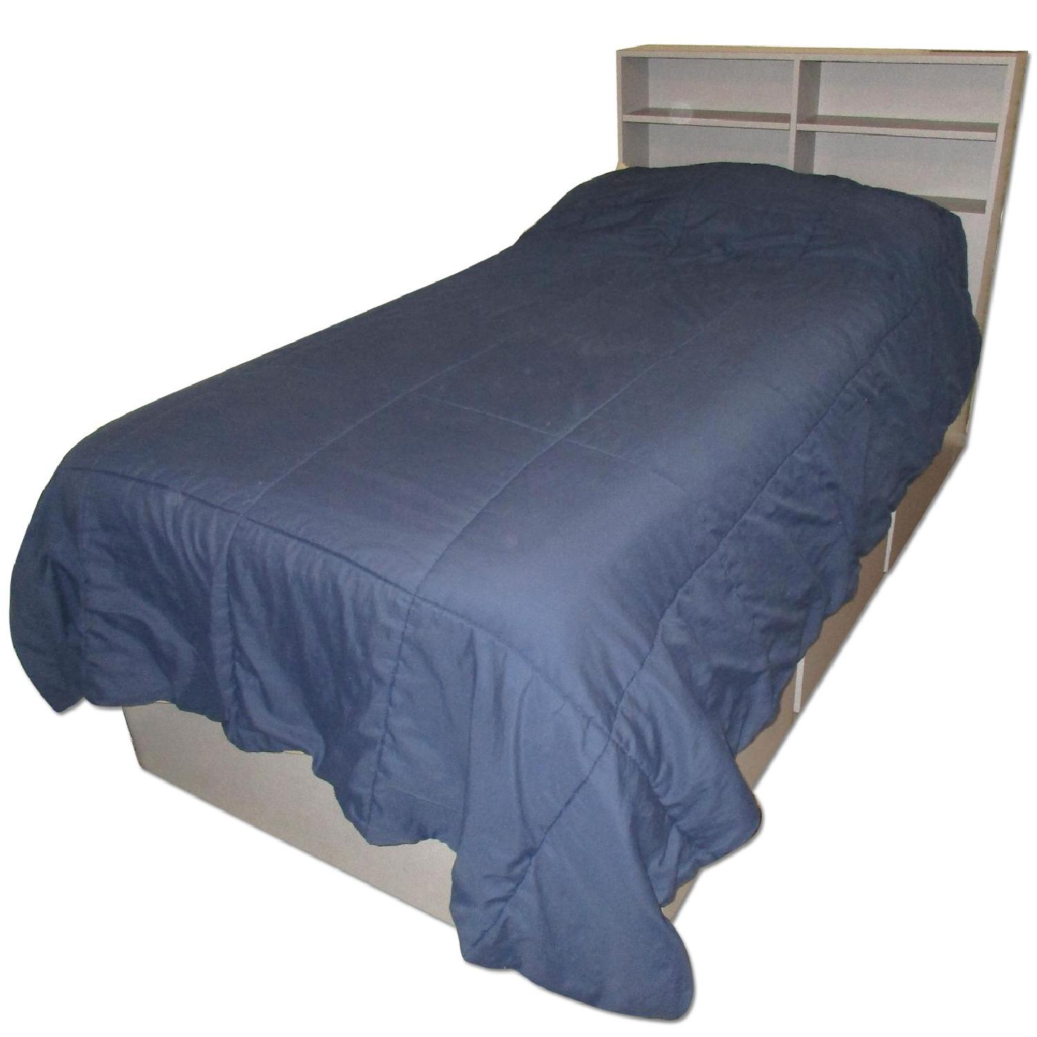 Twin Captain's Bed w/ 3 Pullout Drawers & Storage Headboard - image-0