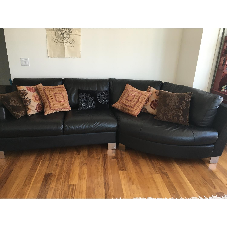Black Leather sofa - image-2