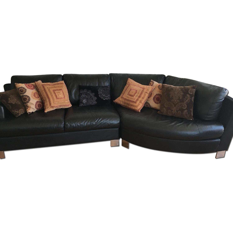 Black Leather sofa - image-0