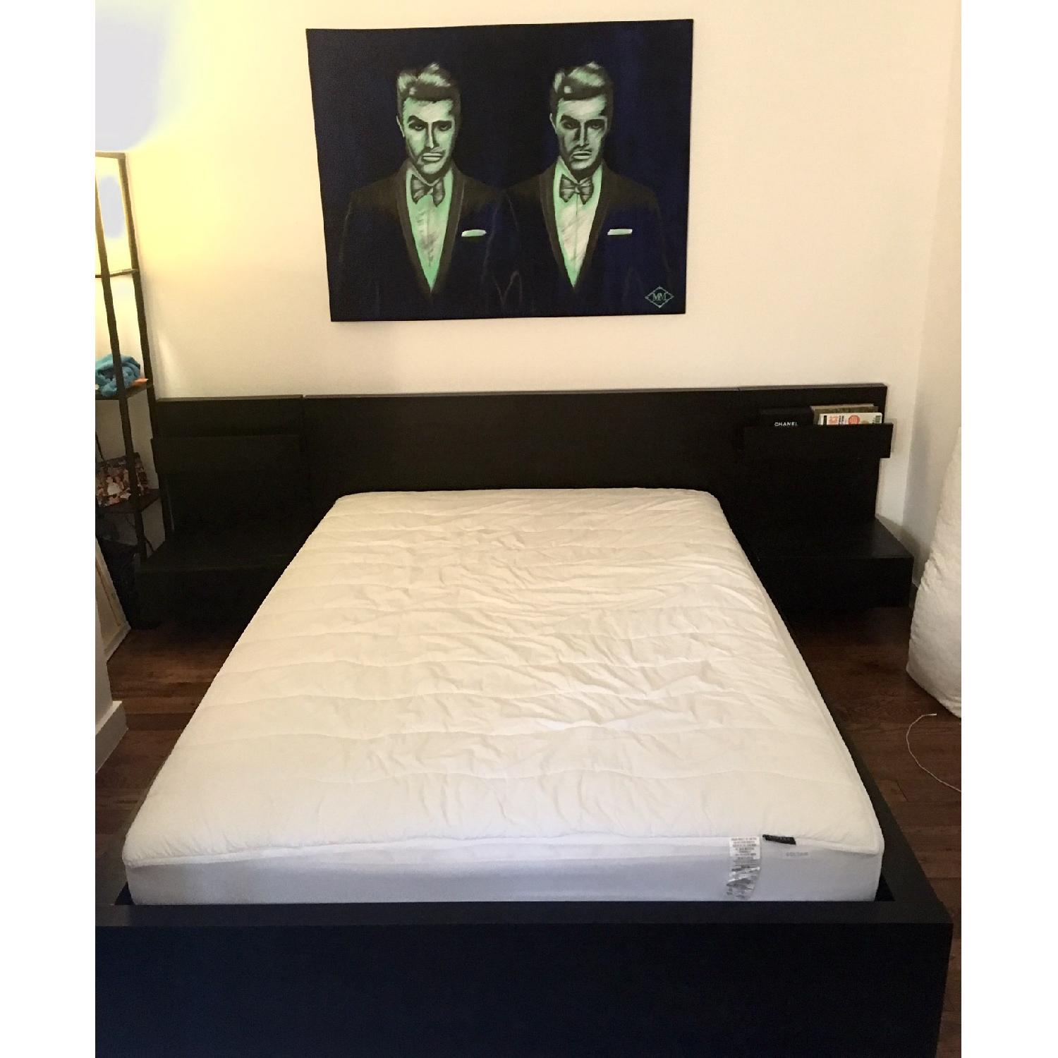 Ikea Malm Black Full Size Bed Frame w/ 2 Nightstands - image-5