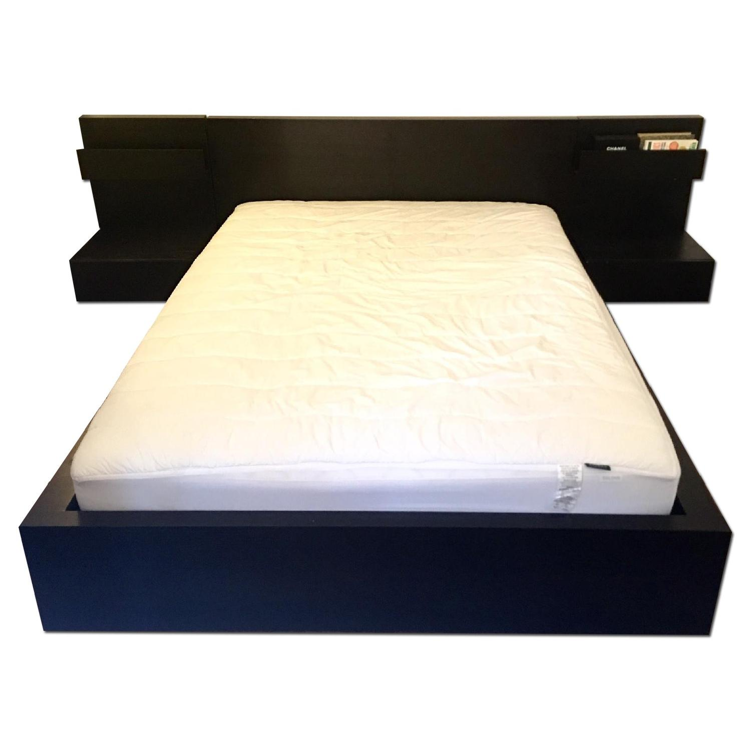 Ikea Malm Black Full Size Bed Frame w/ 2 Nightstands - image-0