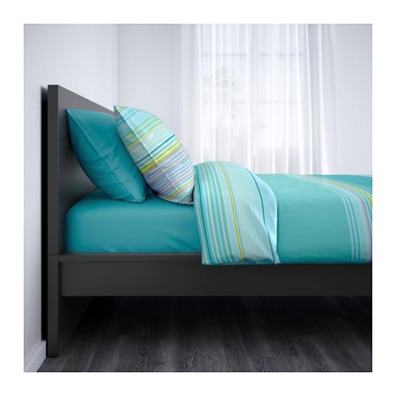 Ikea Malm High Bed Frame w/ Slats in Black-Brown - image-3
