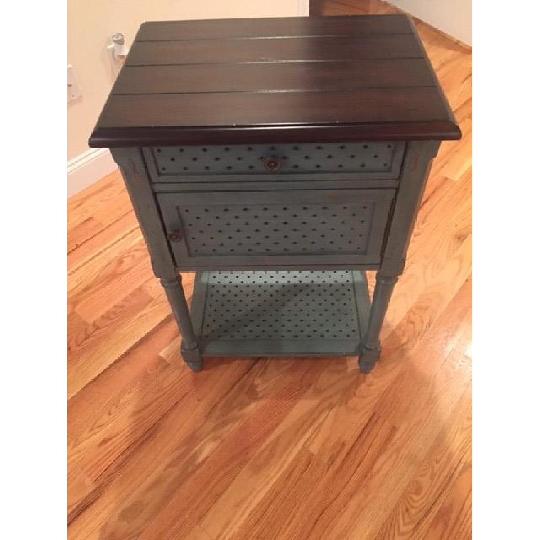 Rustic/Antique/Blue Vintage Accent Table - 2 Avaialble - image-1