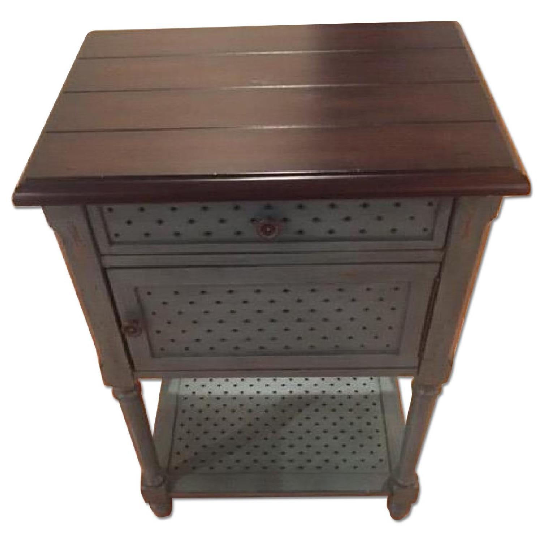 Rustic/Antique/Blue Vintage Accent Table - 2 Avaialble - image-0