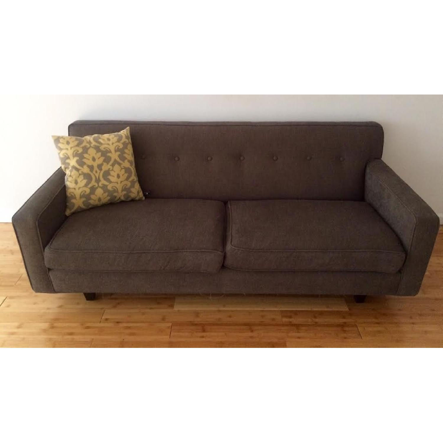 Mid-Century Modern Grey Twill Couch w/ Button Tufting - image-1