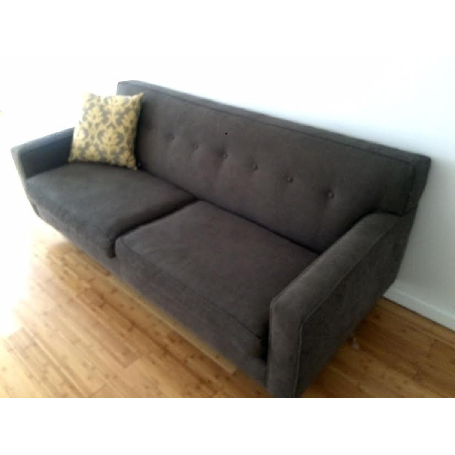Mid-Century Modern Grey Twill Couch w/ Button Tufting - image-2