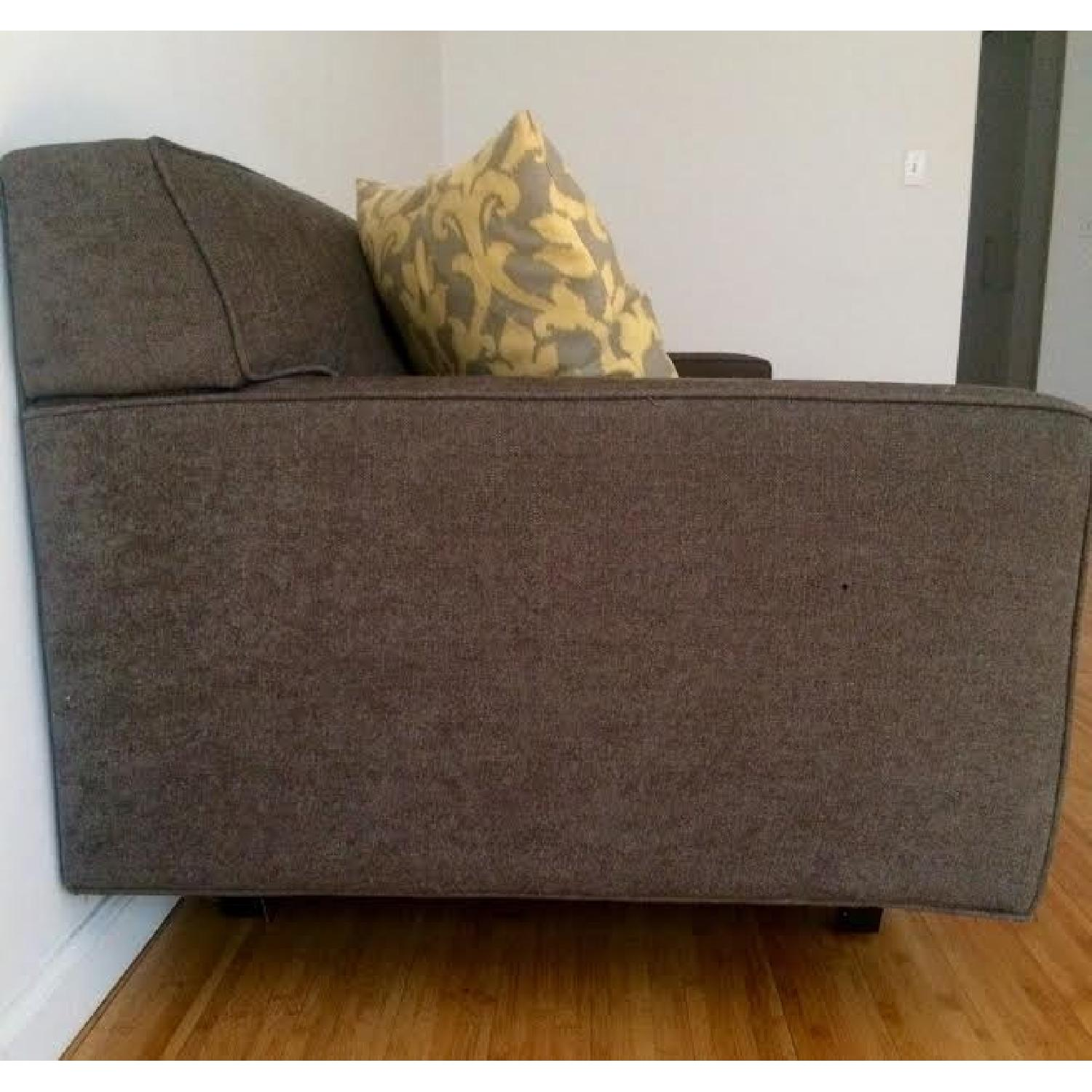 Mid-Century Modern Grey Twill Couch w/ Button Tufting - image-3