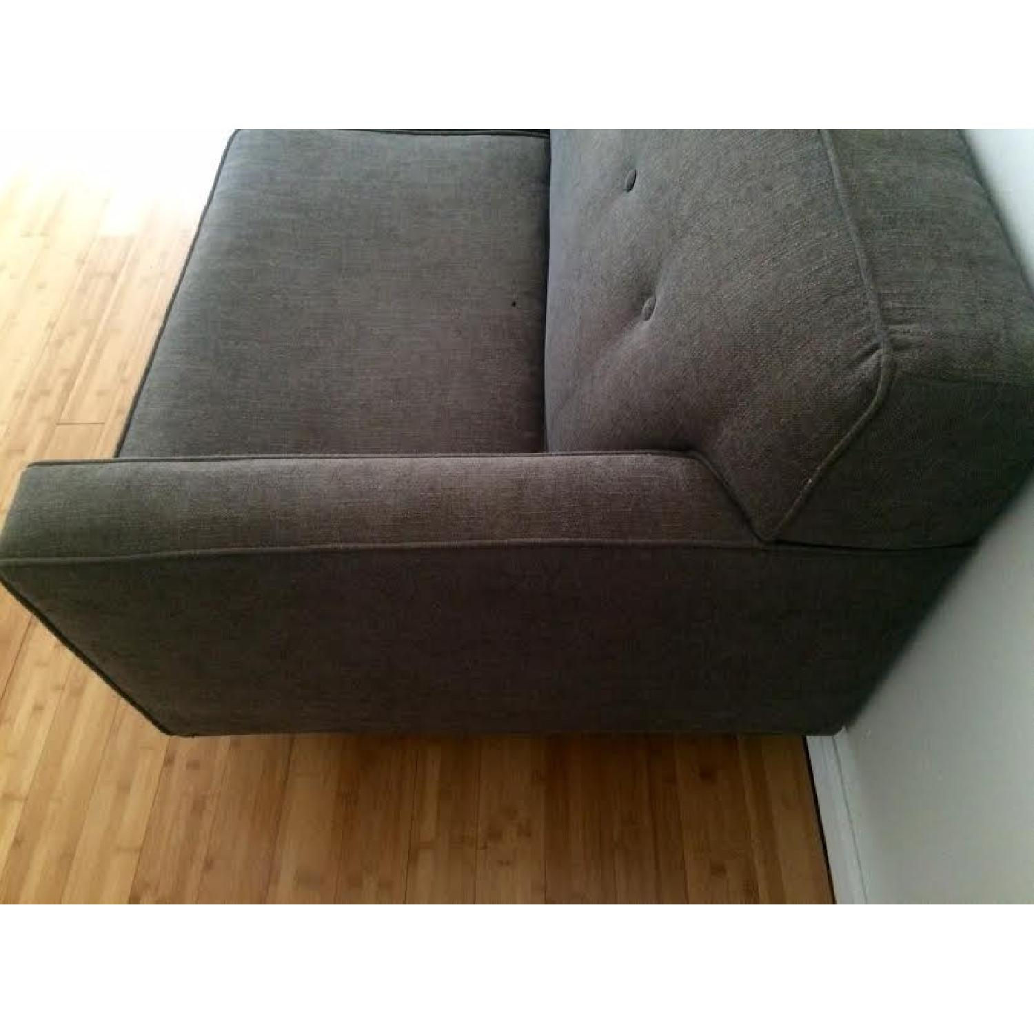 Mid-Century Modern Grey Twill Couch w/ Button Tufting - image-4