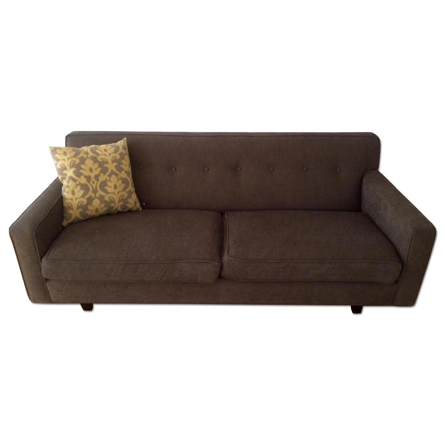 Mid-Century Modern Grey Twill Couch w/ Button Tufting - image-0