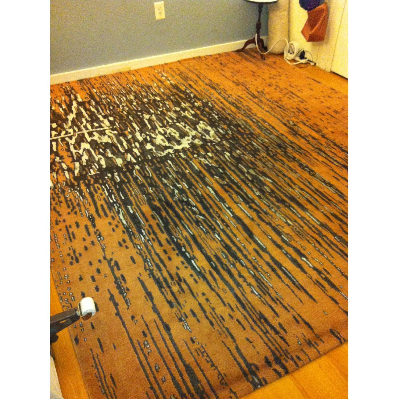 ABC Carpet and Home Wool & Silk Nepal Rug in Orange, Black & Silver - image-1