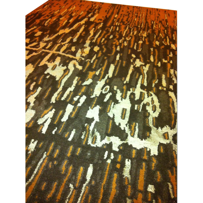 ABC Carpet and Home Wool & Silk Nepal Rug in Orange, Black & Silver - image-0