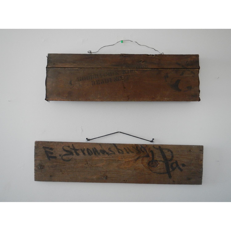 Vintage Wooden Shipping Crate Slat Art Decor - image-1