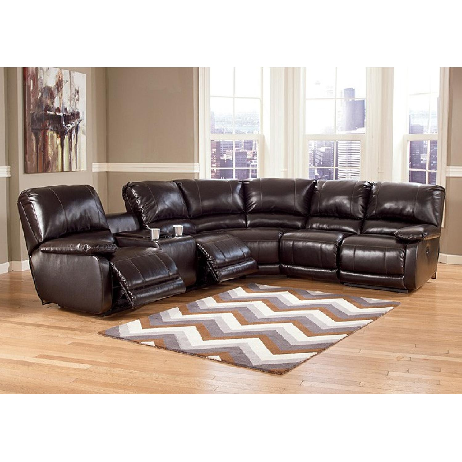 Ashley's Dark Brown Leather Blend 4 Power Recliner Sectional - image-1