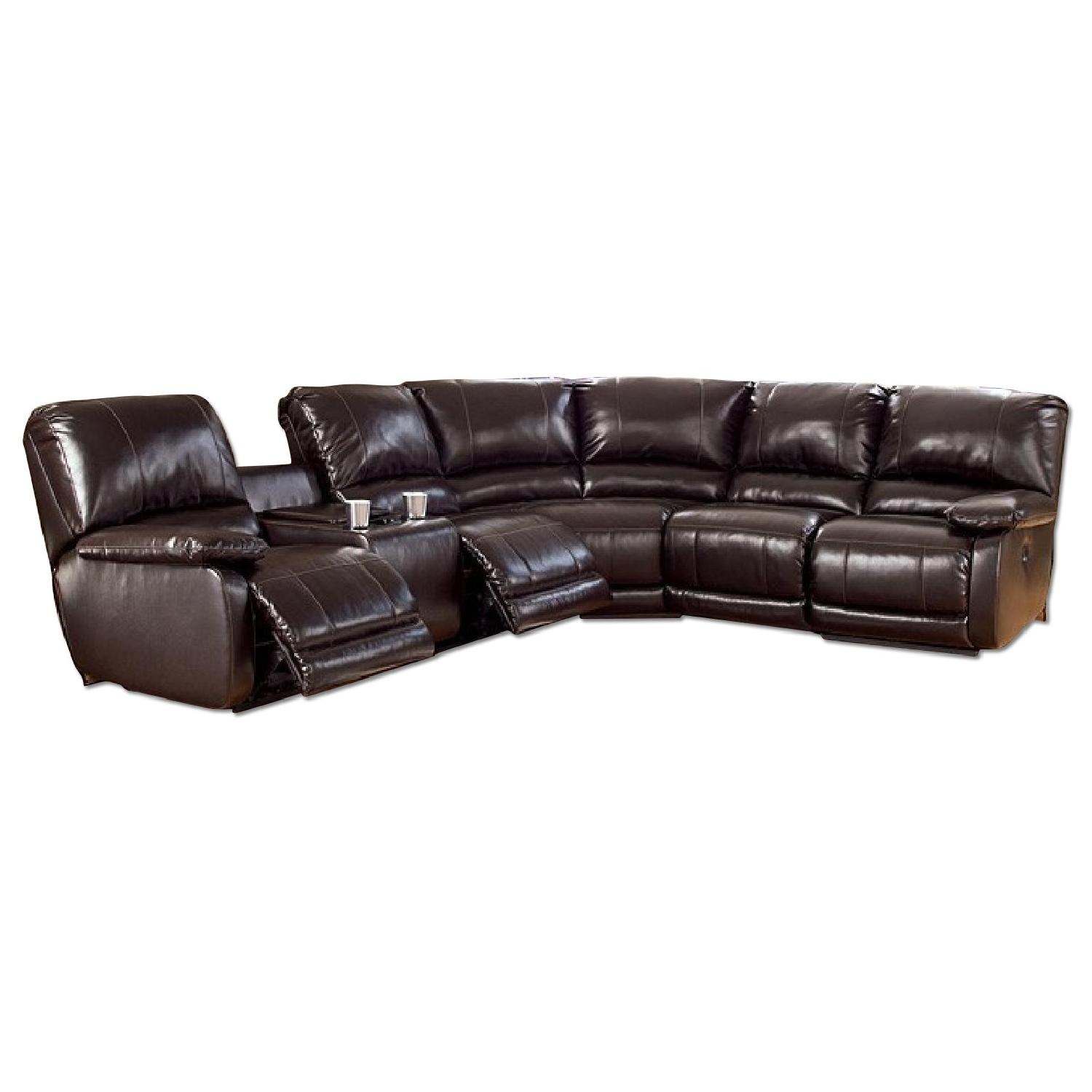 Ashley's Dark Brown Leather Blend 4 Power Recliner Sectional - image-2