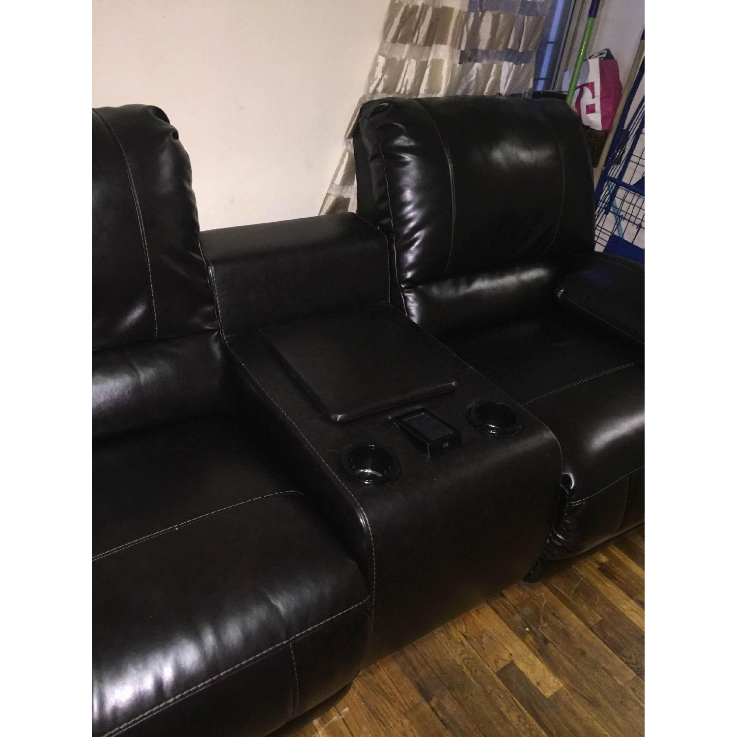 Ashley's Dark Brown Leather Blend 4 Power Recliner Sectional - image-3
