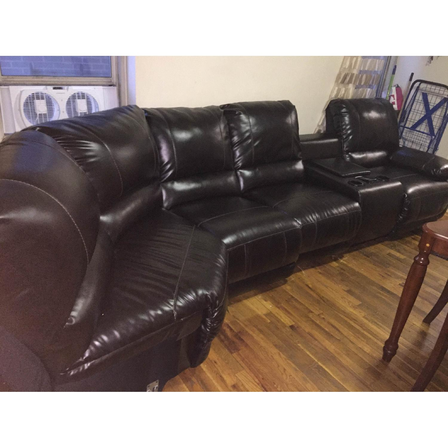 Ashley's Dark Brown Leather Blend 4 Power Recliner Sectional - image-4