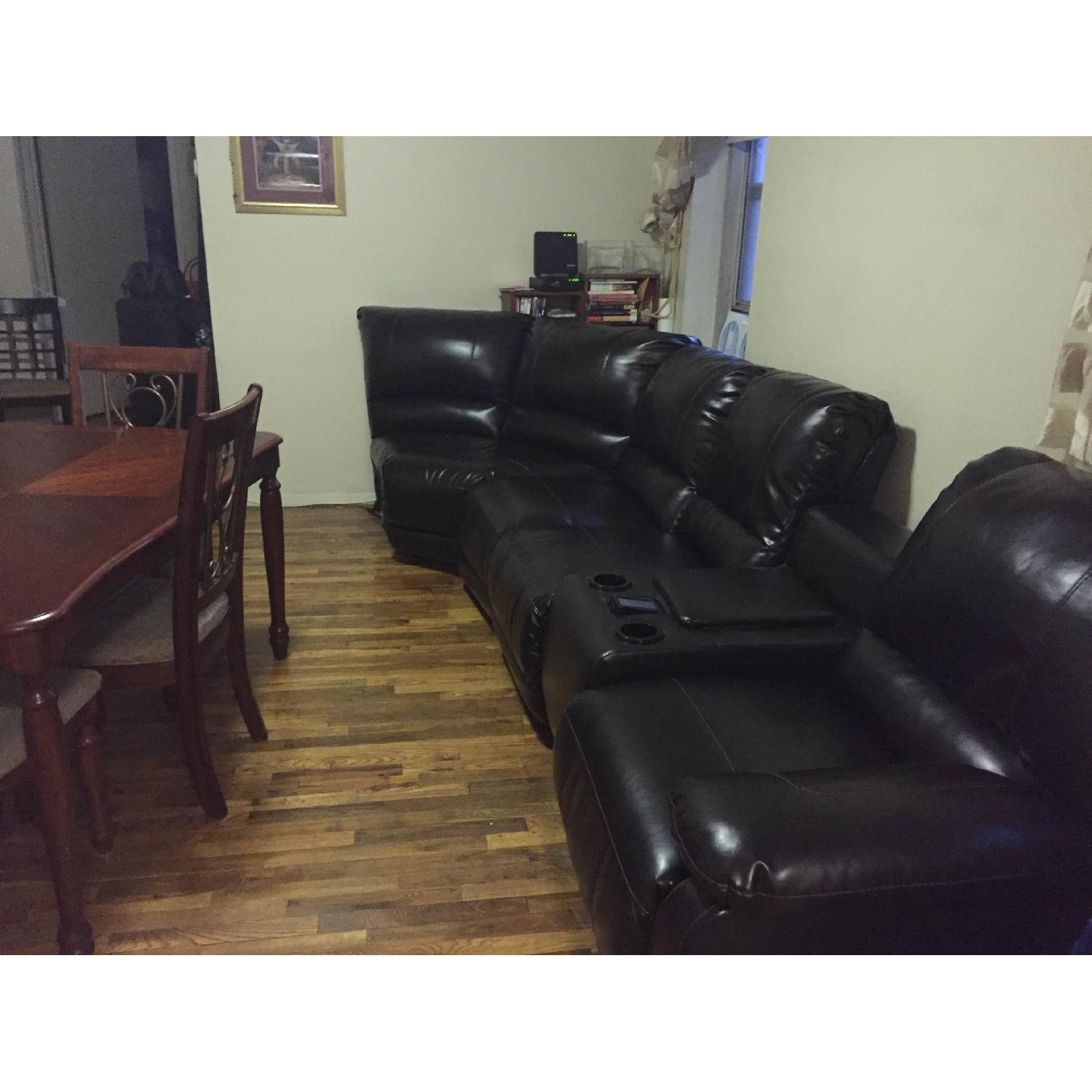 Ashley's Dark Brown Leather Blend 4 Power Recliner Sectional - image-7
