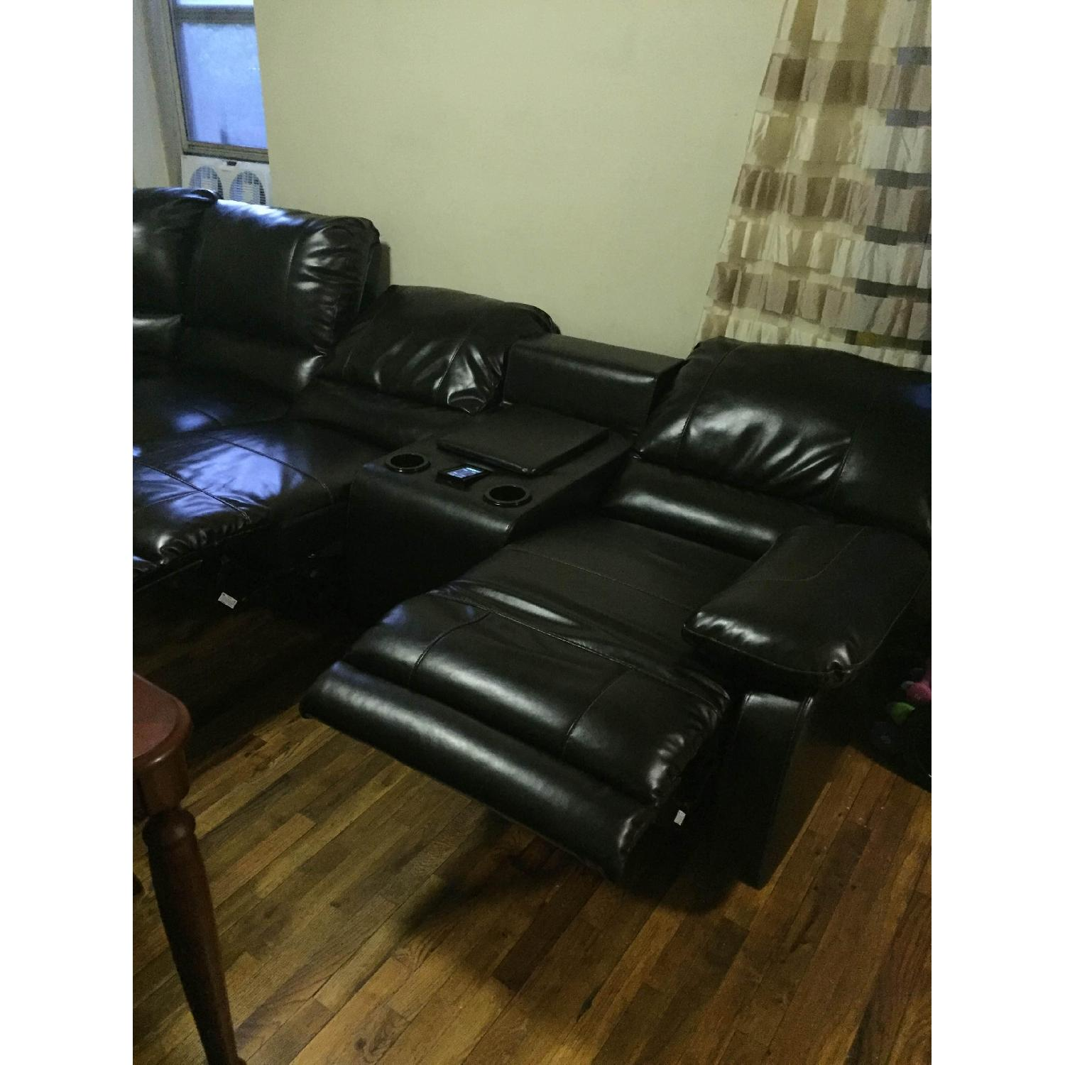 Ashley's Dark Brown Leather Blend 4 Power Recliner Sectional - image-9