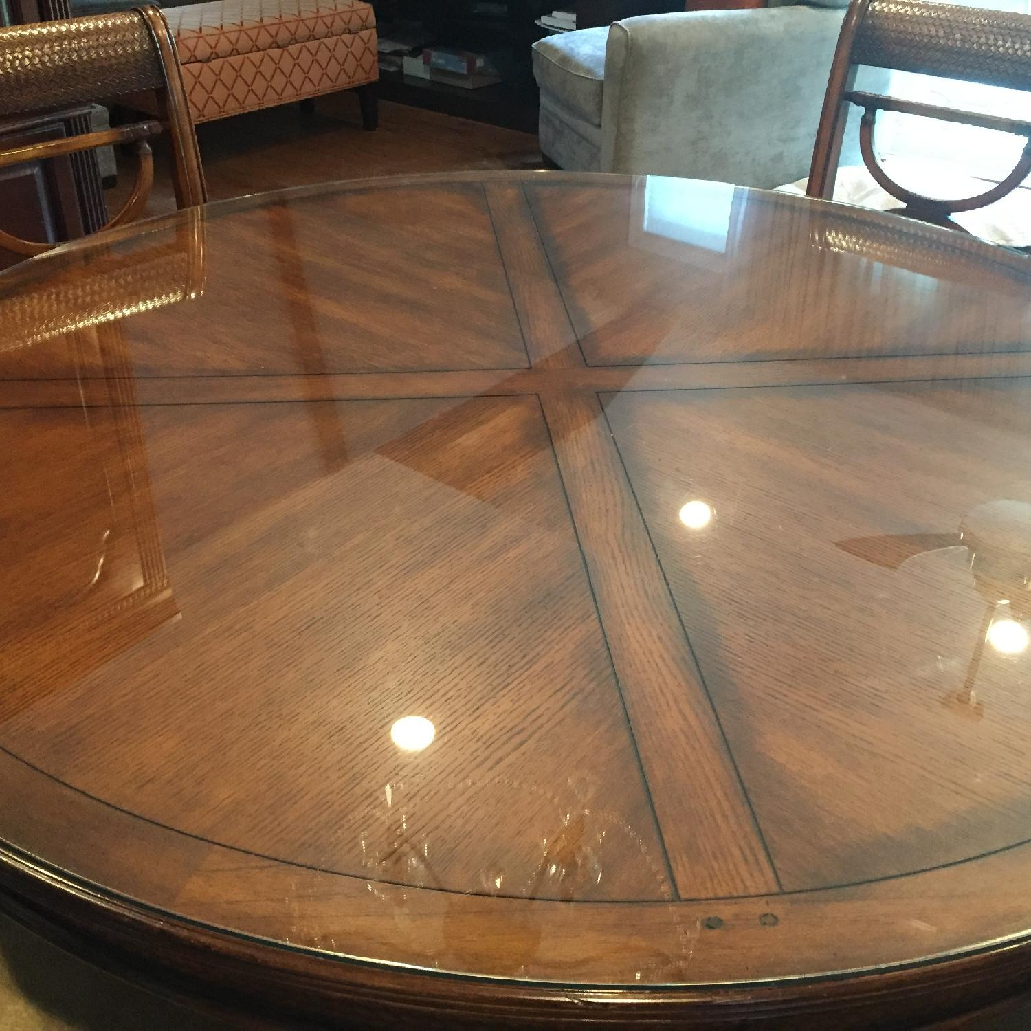 Dining Room Glass Top Round Table w/ 6 Chairs - image-3