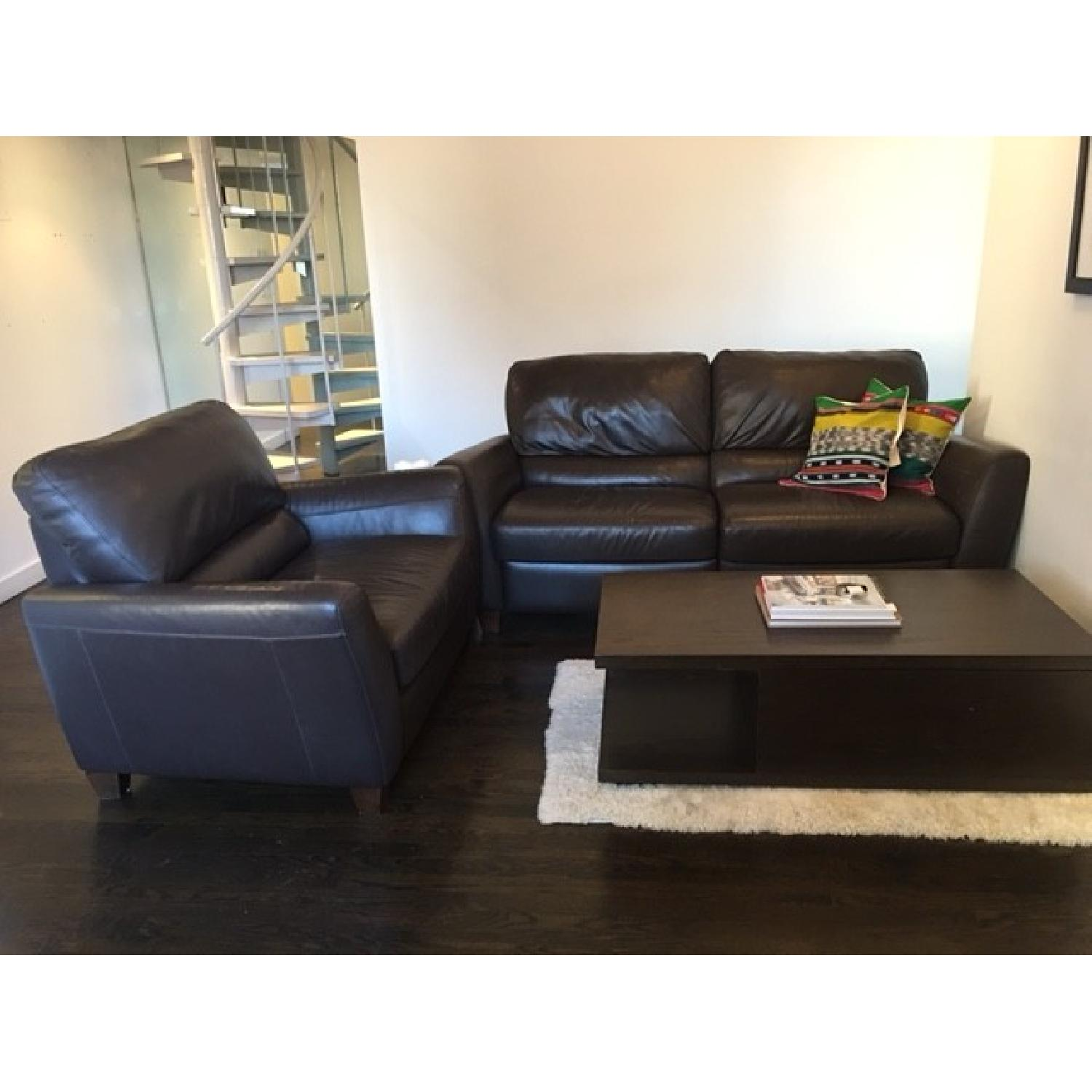 Macy's Brown Leather Reclining Sofa + Armchair - image-1