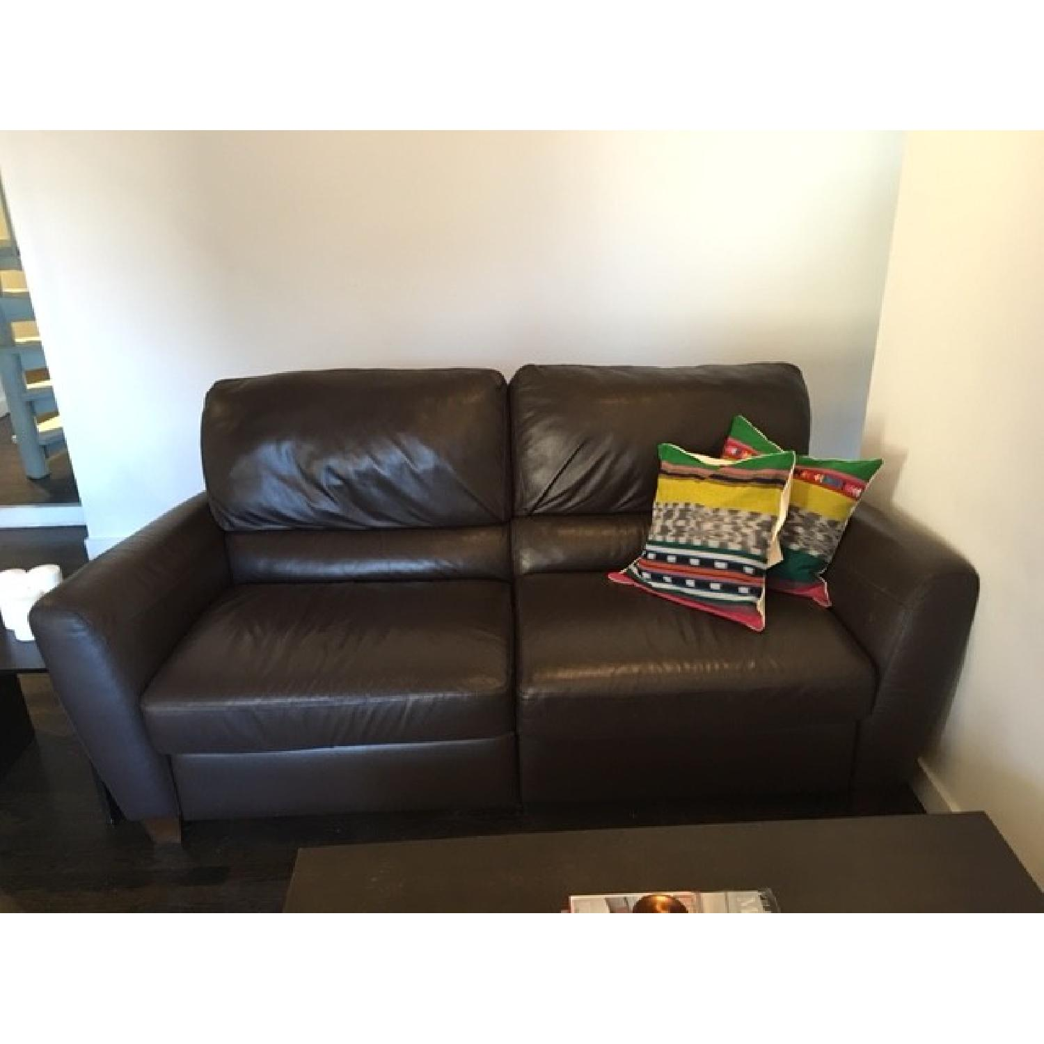 Macy's Brown Leather Reclining Sofa + Armchair - image-2