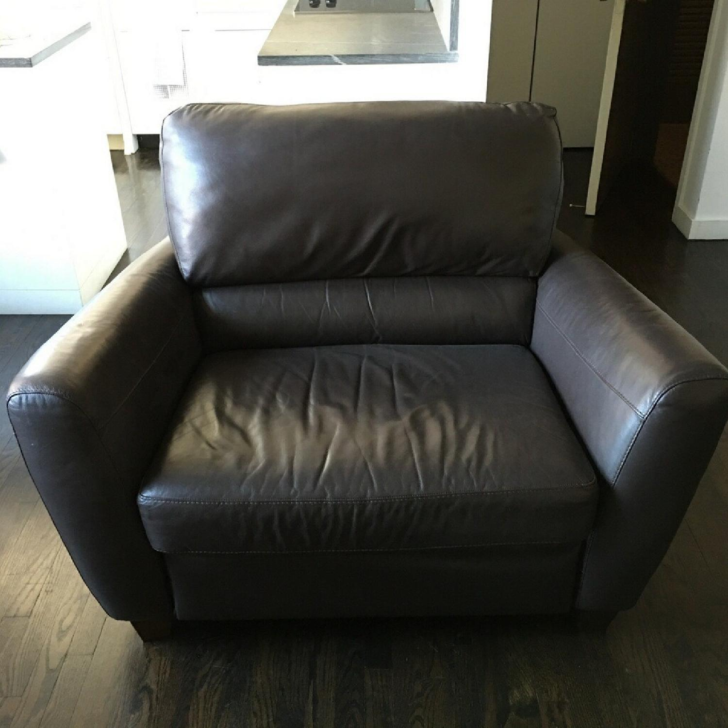 Macy's Brown Leather Reclining Sofa + Armchair - image-4