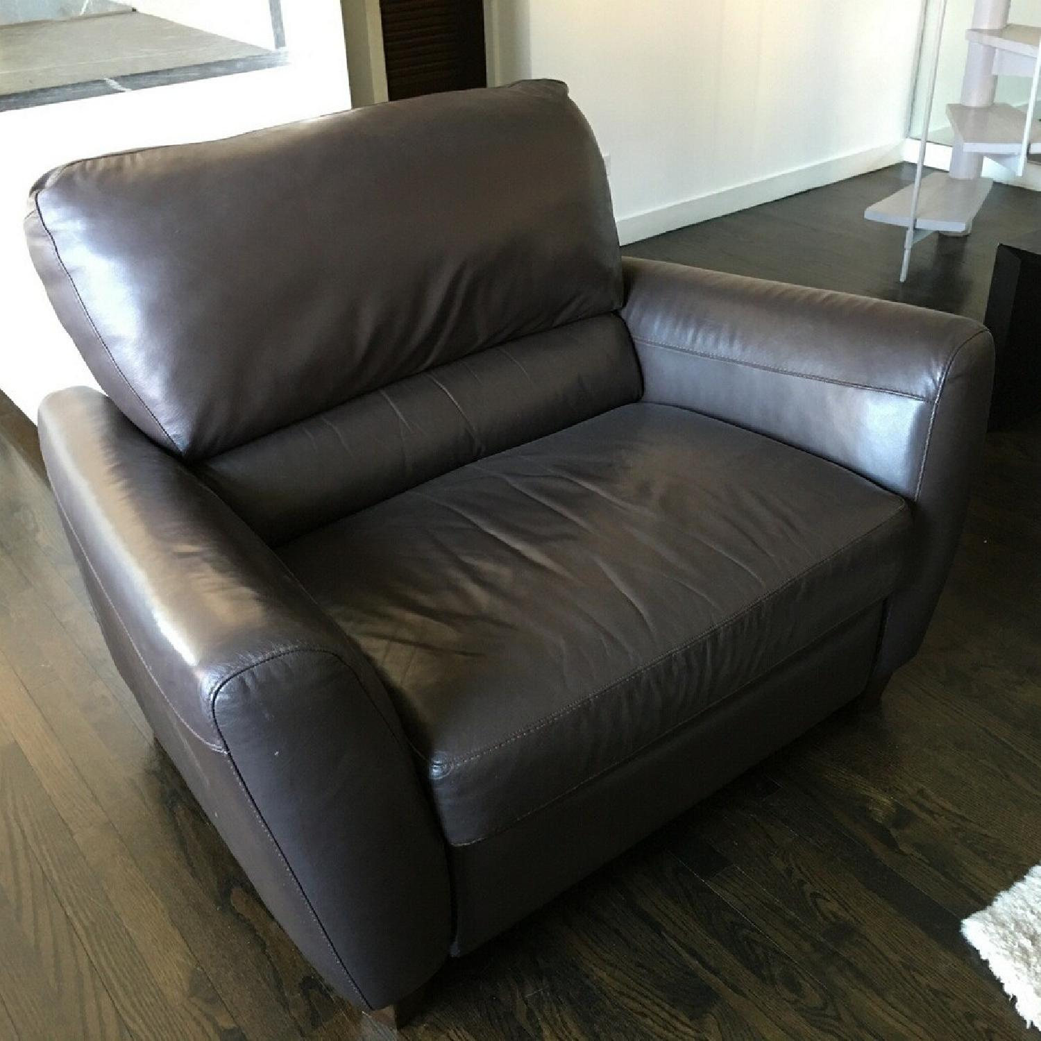 Macy's Brown Leather Reclining Sofa + Armchair - image-5