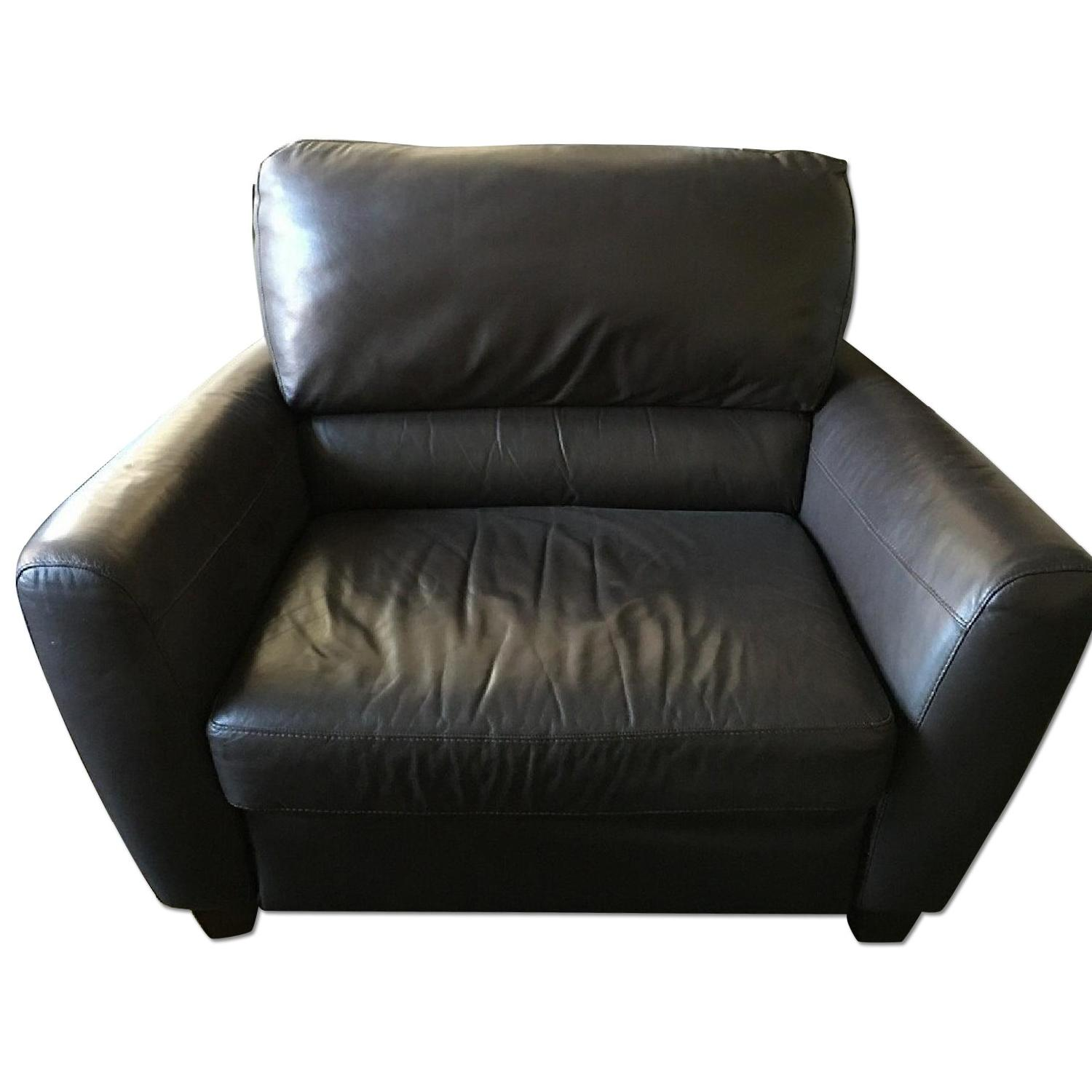 Macy's Brown Leather Reclining Sofa + Armchair - image-6