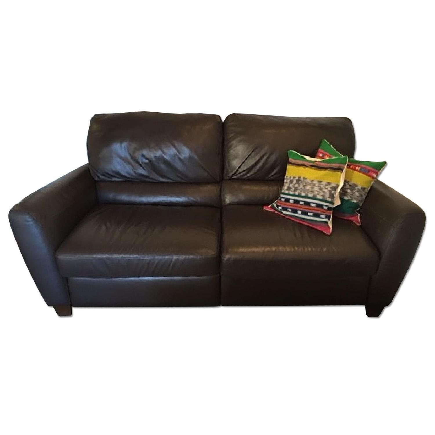 Macy's Brown Leather Reclining Sofa + Armchair - image-0