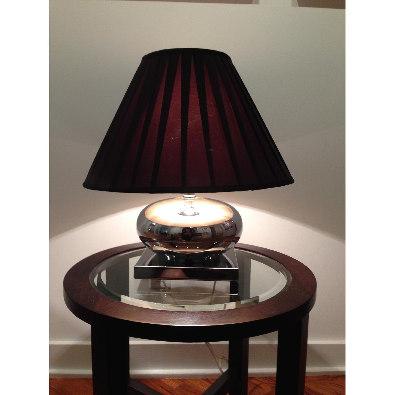 Mercury Glass Lamp w/ Pleated Brown Silk Shade - image-1
