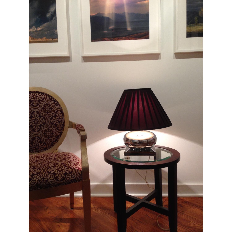 Mercury Glass Lamp w/ Pleated Brown Silk Shade - image-2