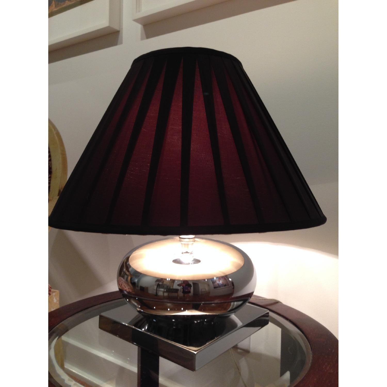 Mercury Glass Lamp w/ Pleated Brown Silk Shade - image-3