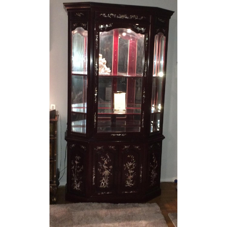 Asian Rosewood Curio Cabinet - image-4