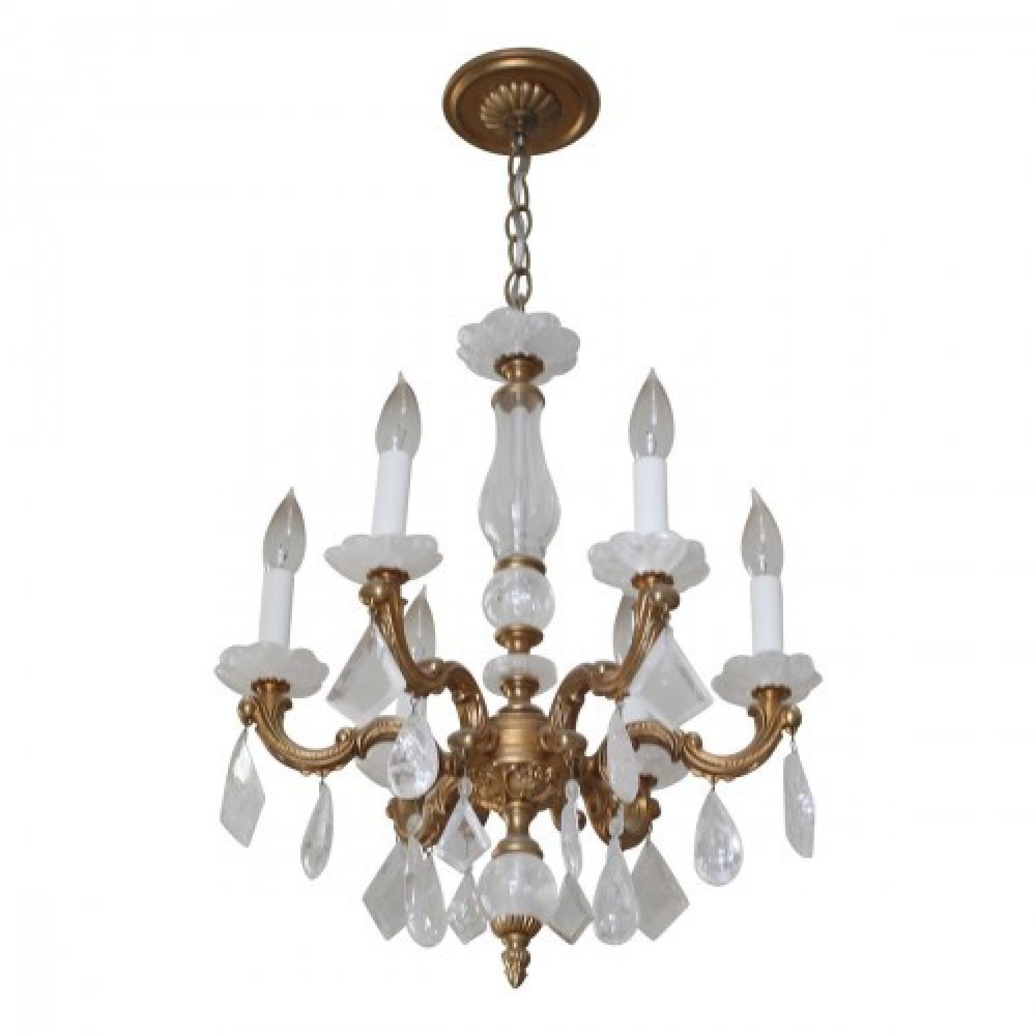 ABC Carpet & Home Brass & Glass Rock Crystal Chandelier - image-0