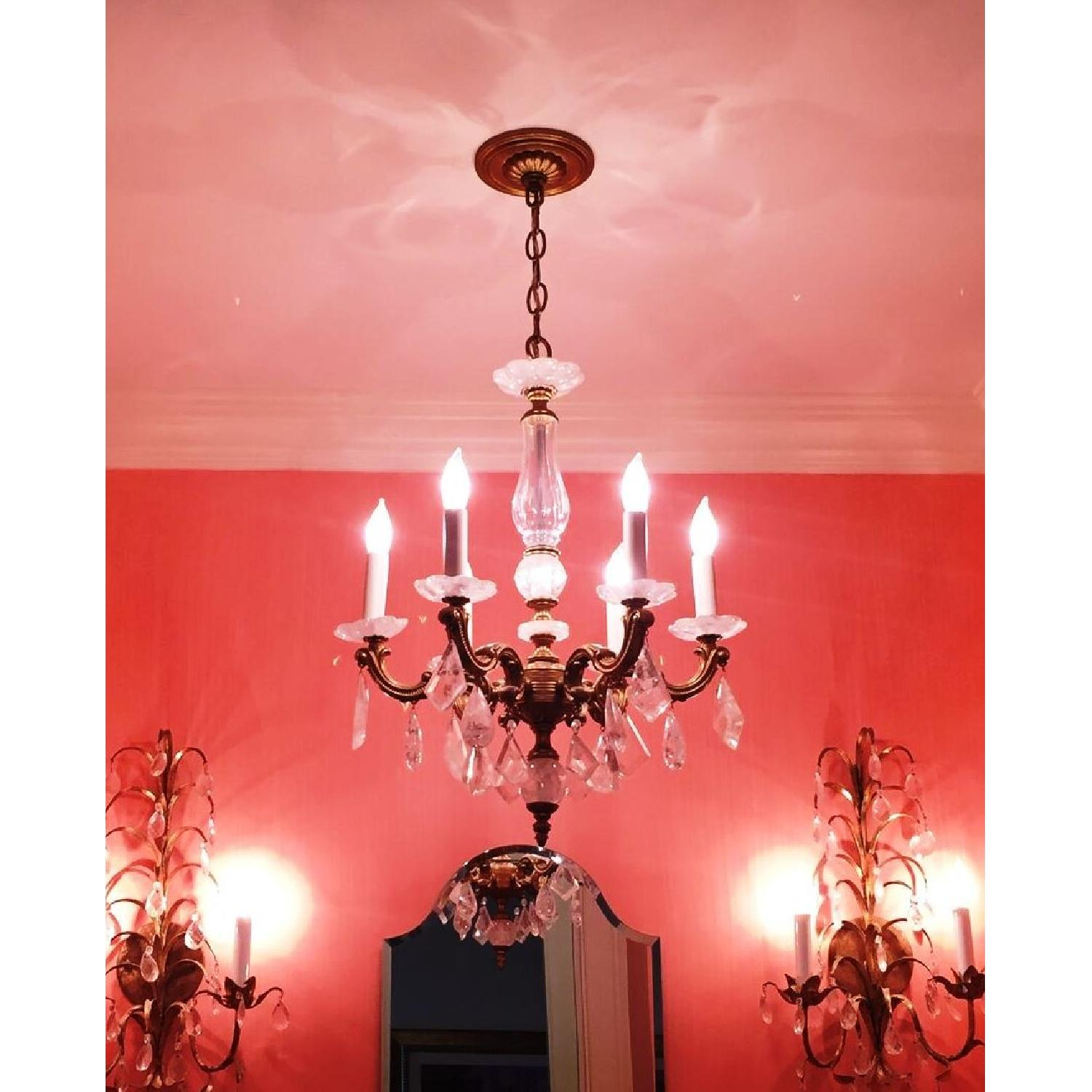 ABC Carpet & Home Brass & Glass Rock Crystal Chandelier - image-1