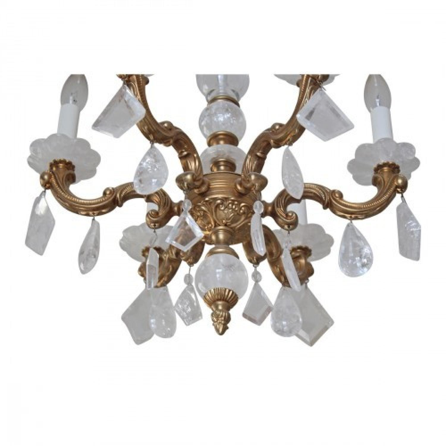 ABC Carpet & Home Brass & Glass Rock Crystal Chandelier - image-2