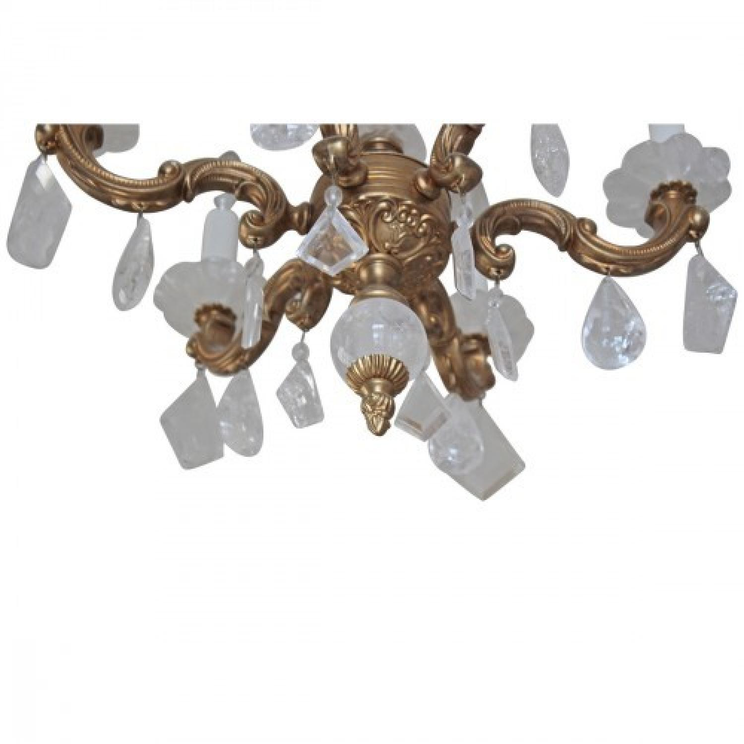 ABC Carpet & Home Brass & Glass Rock Crystal Chandelier - image-3