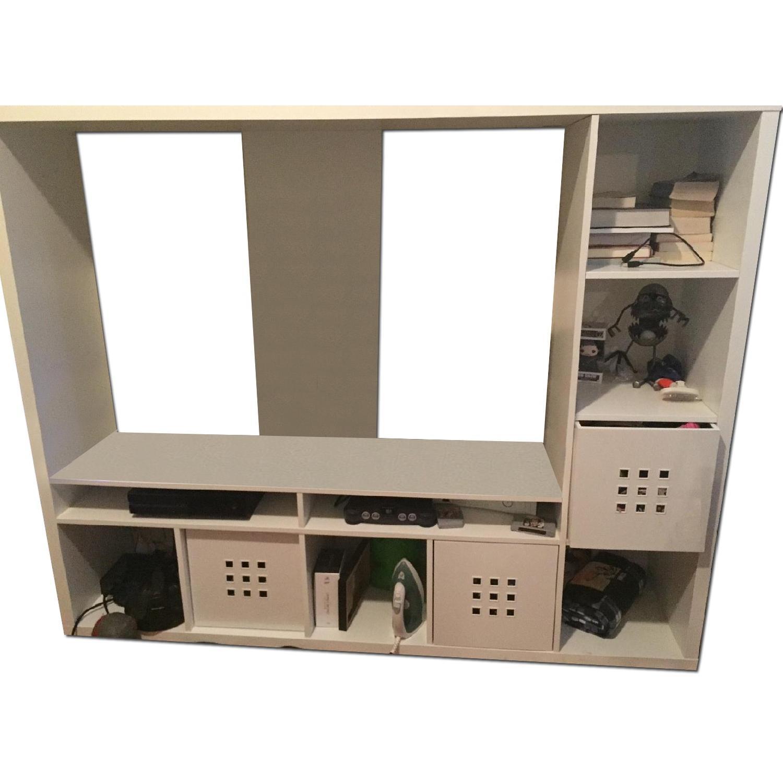 Ikea Lappland TV Entertainment Center + 5 Storage Boxes - image-0