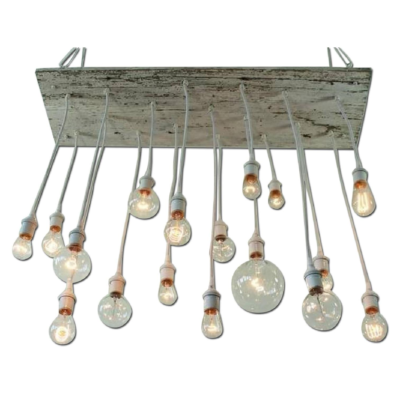 Reclaimed Barn Wood Chandelier w/ Edison Bulb - image-0