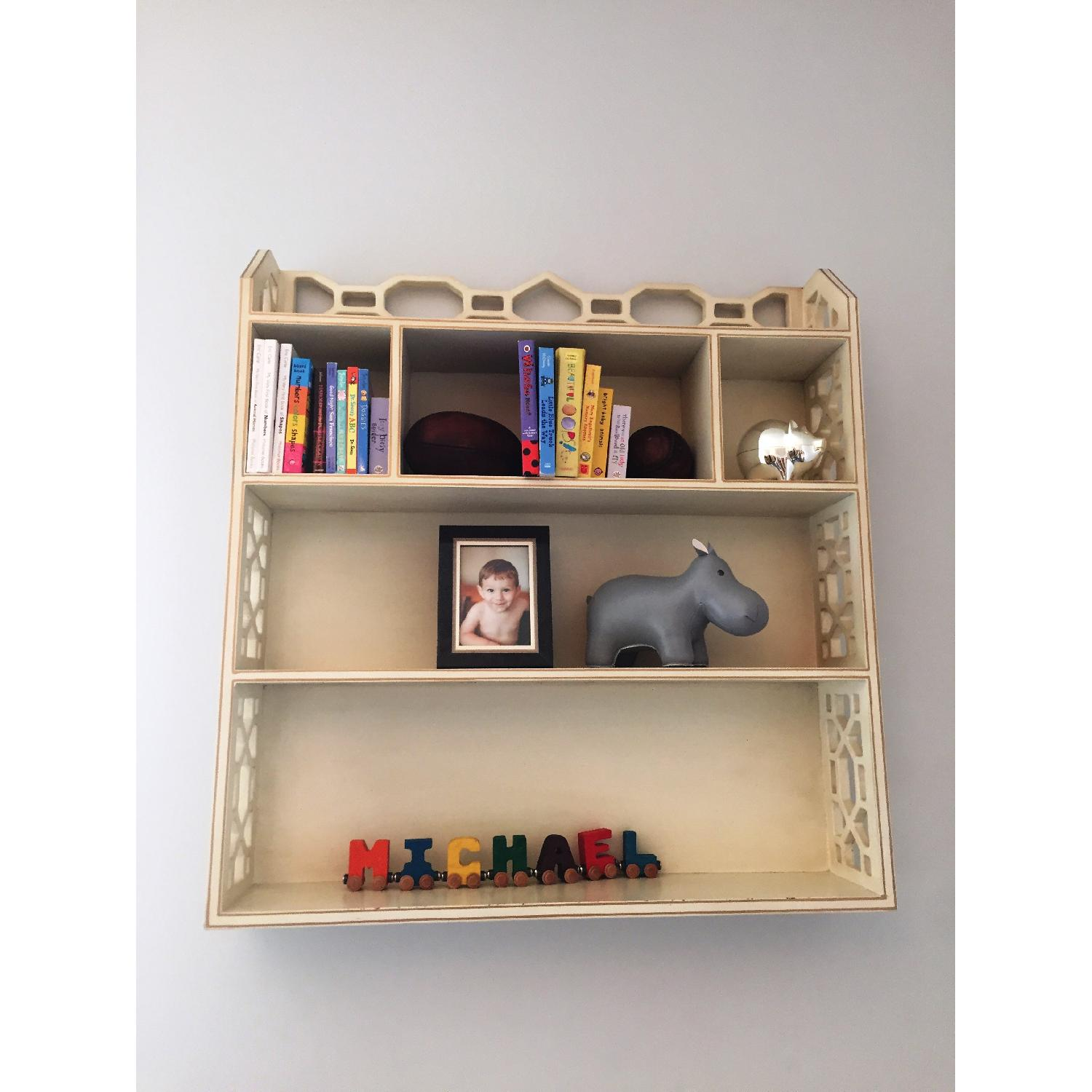 Distressed White Wall Shelving Unit - image-1