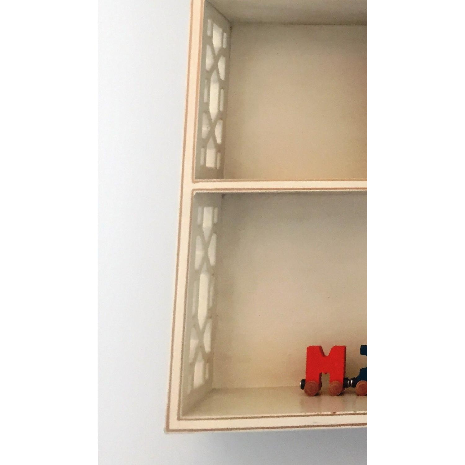 Distressed White Wall Shelving Unit - image-2